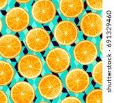 sliced orange seamless pattern. ... | Shutterstock .eps vector #691329460