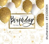 happy birthday design.white and ... | Shutterstock .eps vector #691330804