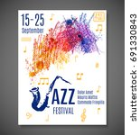 jazz blues festival poster.... | Shutterstock .eps vector #691330843