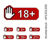 age limit notice warning hand... | Shutterstock .eps vector #691331200
