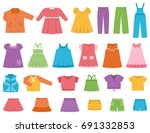 baby clothes for girls. set... | Shutterstock . vector #691332853