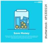 Money In Jar Line Style Save...