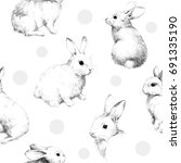 Stock photo drawing with rabbits collage cute fuzzy pattern pencil sketch with circles 691335190