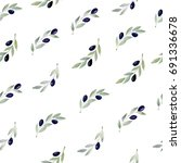 olive branch hand drawn...   Shutterstock . vector #691336678