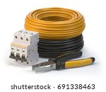 electric cable  pliers and... | Shutterstock . vector #691338463