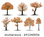 collection of red autumn tree... | Shutterstock .eps vector #691340056