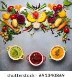 concept of healthy vegetable... | Shutterstock . vector #691340869