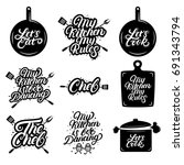 big set of kitchen hand written ... | Shutterstock .eps vector #691343794