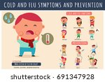 cold and flu symptoms and... | Shutterstock .eps vector #691347928