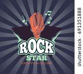 retro karaoke music club  audio ... | Shutterstock .eps vector #691351888