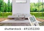 modern bright living room...   Shutterstock . vector #691352200