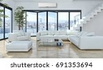 modern bright living room... | Shutterstock . vector #691353694
