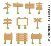 wooden signboards  wood arrow... | Shutterstock .eps vector #691356616