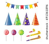 party elements   realistic... | Shutterstock .eps vector #691361896
