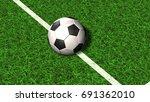 football on a soccer field line ...   Shutterstock . vector #691362010