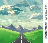 road trip concept in modern... | Shutterstock .eps vector #691362544