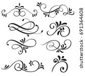 art calligraphy flourish of... | Shutterstock .eps vector #691364608