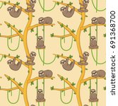 seamless pattern with cute... | Shutterstock .eps vector #691368700