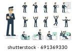businessman working character... | Shutterstock .eps vector #691369330