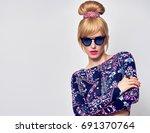 fashion model sexy girl... | Shutterstock . vector #691370764