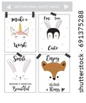 cute animal cards with... | Shutterstock .eps vector #691375288