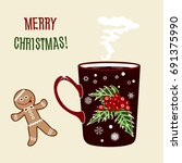 Brown Xmas Coffee Cup W. Red...