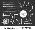et of colorful wax crayon lines ... | Shutterstock .eps vector #691377718