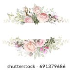 Stock photo vintage card watercolor wedding invitation design with pink rose bud and leaves wild flower 691379686