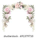vintage card  watercolor... | Shutterstock . vector #691379710