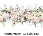 Stock photo isolated seamless border with pink flowers leaves vintage watercolor floral pattern with leaf and 691380130