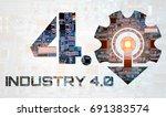industry 4.0 concept . number 4 ...   Shutterstock . vector #691383574