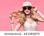 fashion model sexy girl... | Shutterstock . vector #691383874