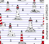 vector lighthouses seamless... | Shutterstock .eps vector #691390234