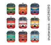 diesel locomotive. front view.... | Shutterstock .eps vector #691390393