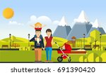happy family in the park flat... | Shutterstock .eps vector #691390420