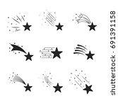 falling stars vector set....   Shutterstock .eps vector #691391158