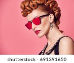 fashion portrait redhead model... | Shutterstock . vector #691391650