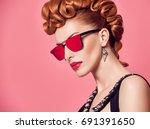 fashion portrait redhead model... | Shutterstock . vector #691391650