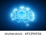 abstract glowing circuit brain... | Shutterstock . vector #691396936