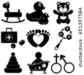 toys icons   Shutterstock .eps vector #691397584