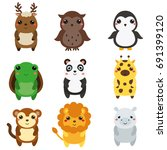 cute animals. children style ... | Shutterstock . vector #691399120
