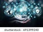 businesswoman on blurred... | Shutterstock . vector #691399240