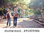 travel and tourism. senior... | Shutterstock . vector #691405486