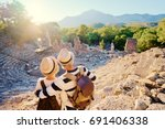 travel and tourism. senior... | Shutterstock . vector #691406338