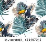 summer tropical background.... | Shutterstock .eps vector #691407043