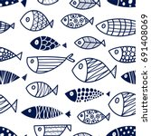cute fish. vector seamless... | Shutterstock .eps vector #691408069