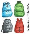 set of different backpacks  men ... | Shutterstock . vector #691411804