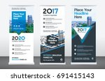 city background business roll...   Shutterstock .eps vector #691415143