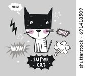Super Cat. Cartoon Print.