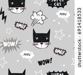 Super Cat. Cartoon Print....